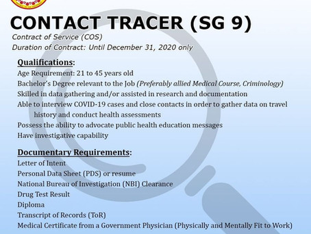 Hiring of Contact Tracers is Extended