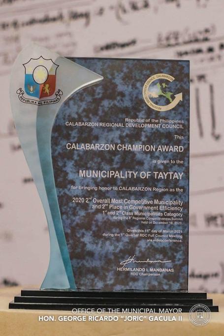 Taytay as CALABARZON Champion Awardee