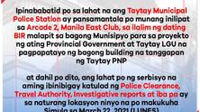 Meantime Relocation of the Taytay Municipal Police Station