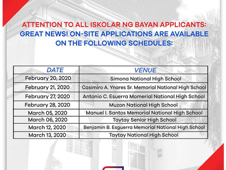 On-Site Iskolar ng Bayan Application
