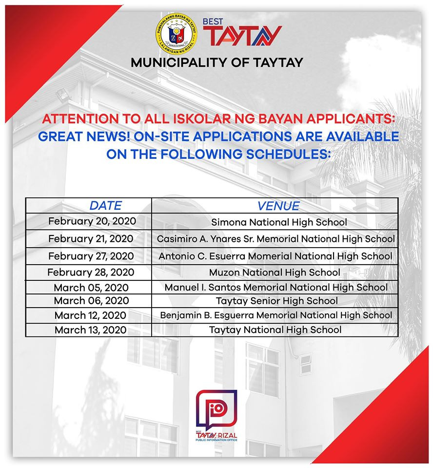Schedule of the On-Site Application for Iskolar ng Bayan