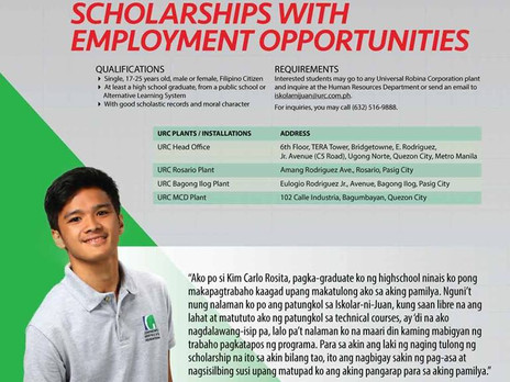 SCHOLARSHIP WITH EMPLOYMENT OPPORTUNITIES