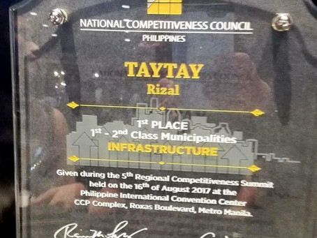 TAYTAY RIZAL-2nd Most Competitive Municipality in the Philippines.