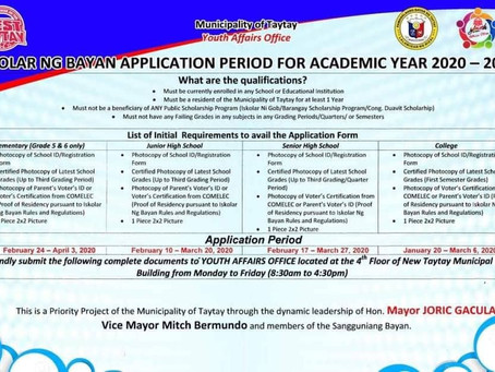 Iskolar ng Bayan Application For Academic Year 2020 - 2021