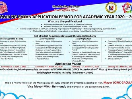 Iskolar ng Bayan Application For Academic Year 2020 - 2021