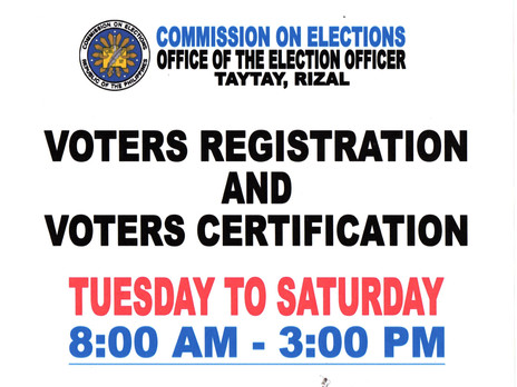COMELEC -Taytay Schedule for Voter's Registration