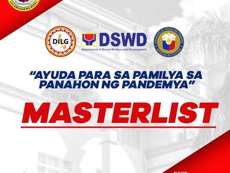"""Masterlist for """"Ayuda para sa Pamilya sa Panahon ng Pandemya"""" Cash Assistance Distribution"""