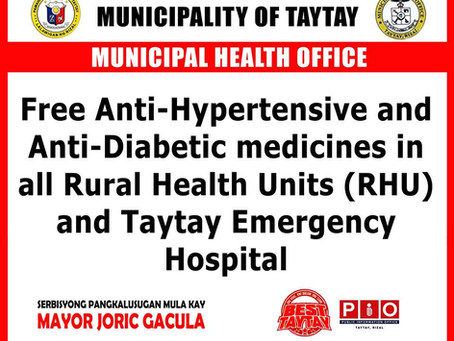 Free Anti-Hypertensive and Anti- Diabetic Medicines