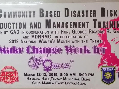 Community Based Disaster Risk Reduction & Management Training for Women by GAD