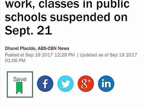 WALANG PASOK: Gov't work & classes in public schools suspended on Sept. 21