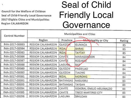 Congratulations Municipality of Taytay for bagging its 2nd SEAL OF CHILD FRIENDLY LOCAL GOVERNANCE f