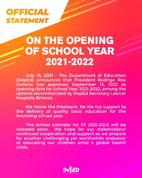 DepEd's Official Statement On The Opening of Classes