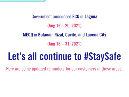 MERALCO Advisory: Updated Reminders in Selected Areas
