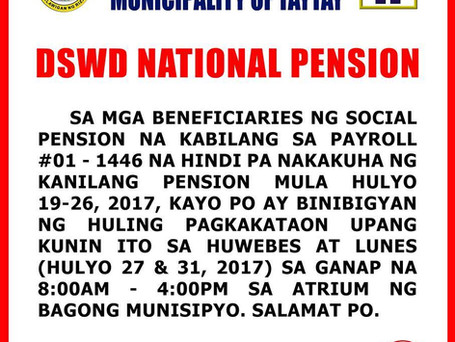 NATIONAL PENSION PAY-OUT FOR SENIOR
