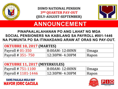 Social Pension Payout from Payroll #001-1446 (July to Aug)