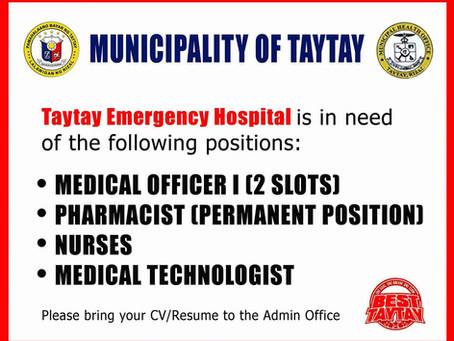 TAYTAY EMERGENCY HOSPITAL JOB OFFERING