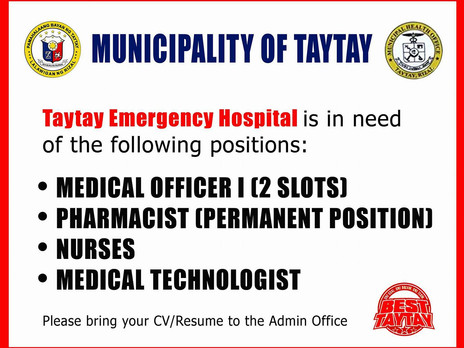 TAYTAY EMERGENCY HOSPITAL JOB OFFERING