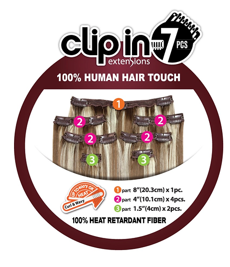 Platino 100% HUMAN HAIR TOUCH 7PCS CLIP-ON