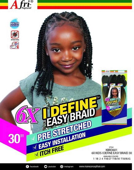 Afri Naptural 6X Kids I DEFINE EASY Braid 30 (KBRD601)