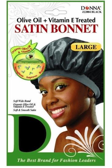 Donna Olive Oil + Vitamin E Treated Satin Bonnet XLarge Black #22342