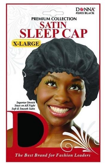 DONNA PREMIUM COLLECTION SATIN SLEEP CAP X-LARGE - BLACK #11021