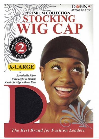 Donna - X-Large Stocking Wig Cap 2pcs 22060 (BLACK)