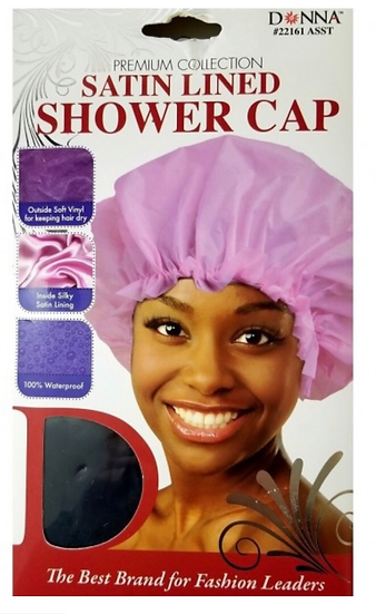 DONNA PREMIUM COLLECTION SATIN LINED SHOWER CAP - ASSORTED #22161