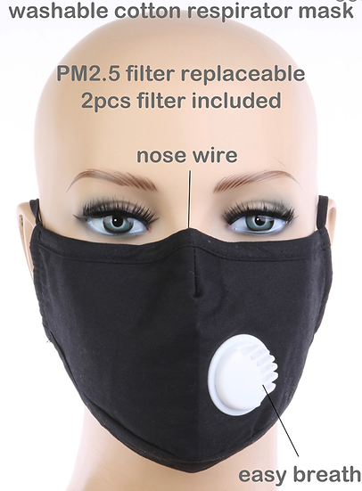 COTTON MASK pm2.5 2pcs filter included NOSE WIRE ADJUSTABLE RUBBER 3 LAYERS 1PCS