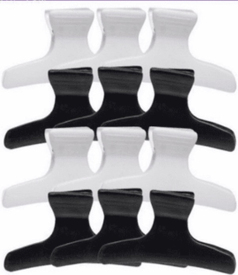 Donna Large Butterfly Clamps 12 Pack Black and White 7937
