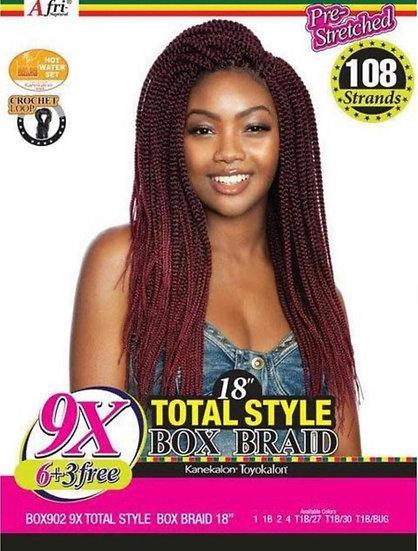 "Afri-Naptural 9X TOTAL STYLE BOX BRAID 18"""