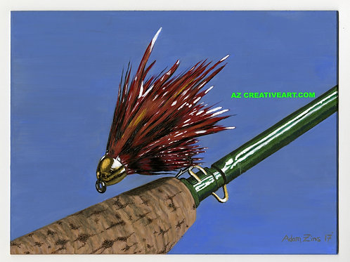 Red Salmon Fly on Rod