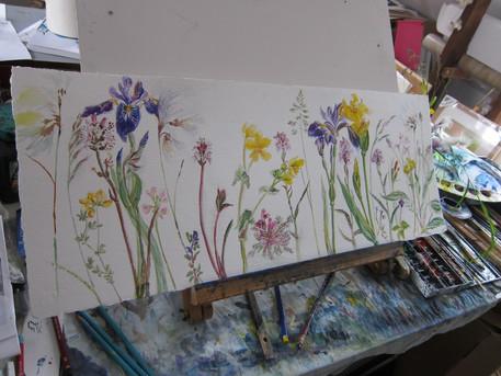 Flower painting in progress