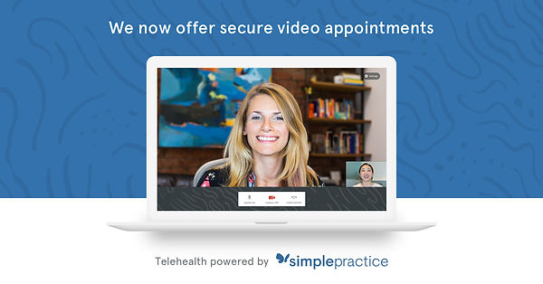 Woman smiling on a computer screen. Telehealth or online therapy in Wisconsin, powered by simplepractice for online therapists doing telemental heatlh or telehealth in Wisconsin.