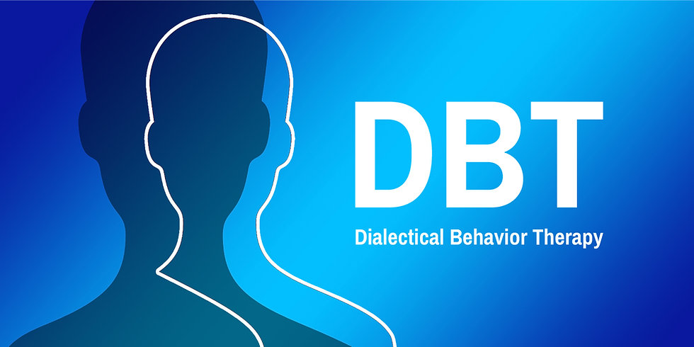 Picture of animated head outline with DBT in blue and white | DBT therapy in Madison, WI Madison, Wisconsin 53703 | Dialectical Behavioral Therapy | Mindfulness therapy | Mindfulness therapist | online therapy | 53202 Milwaukee | 54311 Green Bay