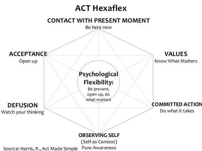 Model of the ACT hexaflex from acceptance and committment therapy in Madison, WI 53703 | ACT mindfulness | Counseling in Madison, WI | online therapy | mindfulness therapy