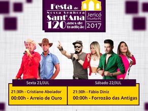 Prefeitura divulga programação da 120ª Festa de Senhora Santa'Ana no Distrito de Jericó