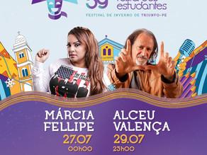 FESTA DOS ESTUDANTES: Márcia Fellipe e Alceu Valença são atrações confirmadas