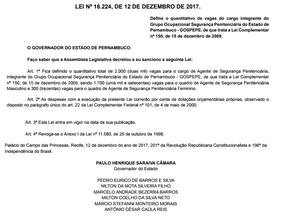 Concurso elevará quadro de agentes penitenciários de PE para 2 mil