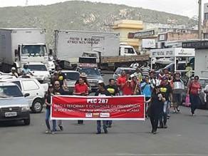 Policiais civis fizeram protesto pacífico em Salgueiro contra a reforma da Previdência Social