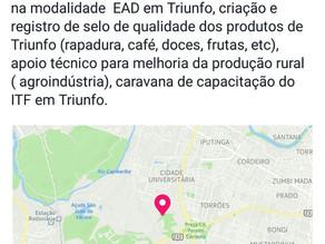 Prefeito busca parceria com IFPE para cursos técnicos (EAD) em Triunfo