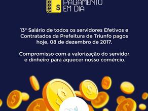 Prefeitura de Triunfo paga 13º salário de servidores