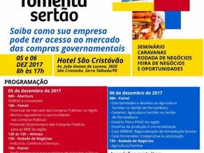 Sebrae/PE promove o Fomenta Sertão nos dias 5 e 6 de dezembro