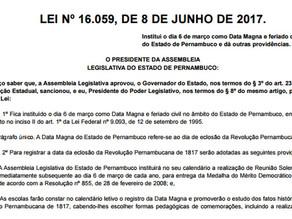 Feriado estadual em homenagem à Revolução Pernambucana de 1817 vira lei