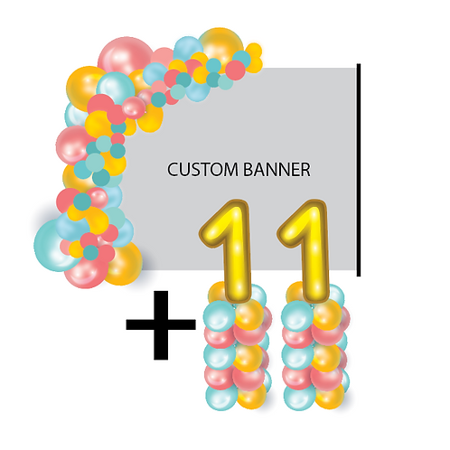 PACKAGE A: 1/2 Arch + Banner + Stand + Columns