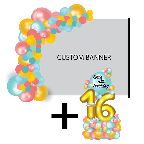 PACKAGE C: 1/2 Arch + Banner + Stand + Balloon Bouquet