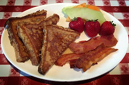 breakfast bar, fruit, French toast