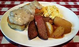 breakfast bar, eggs, sausage