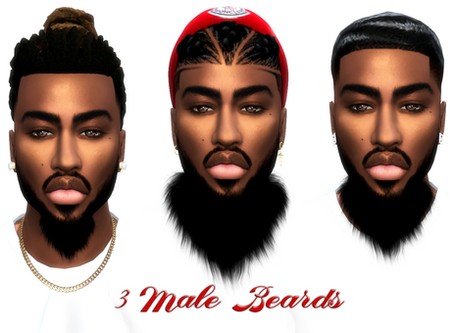 3 heart shaped beards- 3 different sizes