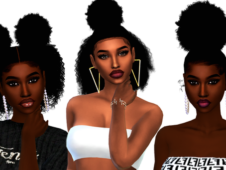 3 Curly puffs Hairstyles for Female sims
