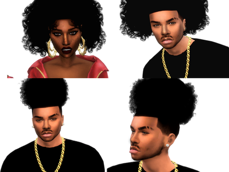 Curly hairs for male and female sims
